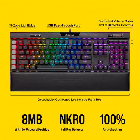 Corsair K95 RGB PLATINUM XT Mechanical Gaming Keyboard — CHERRY® MX Blue