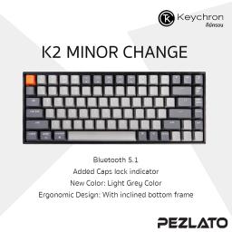 Keychron K2 V2 Wireless Mechanical Keyboard (Red TH/ENG) (Light Grey Color)